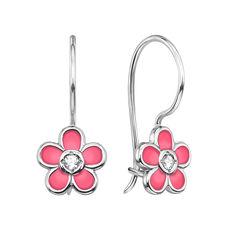 Серебряные серьги Миленький цветочек с цирконием и розовой эмалью 000118222 от Zlato