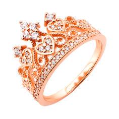 Кольцо-корона из красного золота с фианитами 000117160 16 размера от Zlato