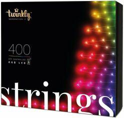 Smart LED Гирлянда Twinkly Strings RGB 400, BT+WiFi, Gen II, IP44 кабель черный (TWS400STP-BEU) от MOYO