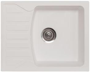 Акция на Кухонная мойка METALAC X GRANIT QUADRO M (144114) белый + сифон от Rozetka