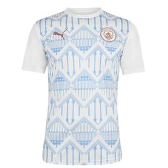 Puma Manchester City Pre Match Рубашка 2020 2021 Мужская Белая/Голубая от SportsTerritory