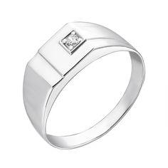 Серебряный перстень-печатка с фианитом 000126569 19.5 размера от Zlato