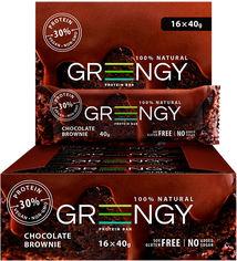 Упаковка протеиновых батончиков Greengy Шоколадный брауни 16 шт х 40 г (4820221320277) от Rozetka