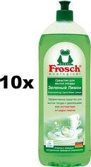 Акция на Упаковка очищающего бальзама для посуды Frosch Зеленый лимон 1 л х 10 шт (4009175048097) от Rozetka