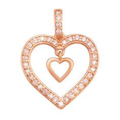 Золотой кулон Хранитель чувств в форме сердца с подвеской-сердечком и фианитами от Zlato