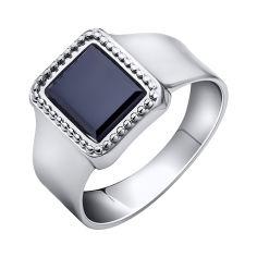 Серебряный перстень-печатка Рудольф с черным ониксом 000102985 21 размера от Zlato