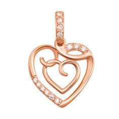 Кулон-сердце из красного золота с фианитами 000104024 от Zlato