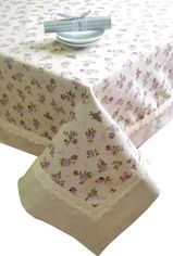Скатерть Прованс Lilac rose с кантом и кружевом 140х140 см от Podushka