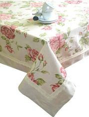 Скатерть Прованс Large pink rose с кантом и кружевом 140х220 см от Podushka