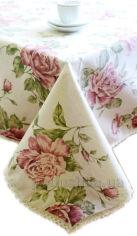 Скатерть Прованс Престиж Large Pink Rose с кружевом 140х220 см от Podushka