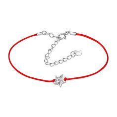 Браслет из серебра и красной шелковой нити Звезда с цирконием 000099329 16 размера от Zlato