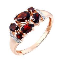 Кольцо из красного золота с гранатами, цирконием и родированными элементами 000141242 16 размера от Zlato