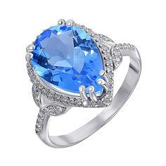 Серебряное кольцо с танзанитом и фианитами 000141193 17.5 размера от Zlato
