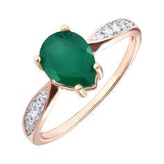 Золотое кольцо в комбинированном цвете с агатом и фианитами 000141243 17.5 размера от Zlato