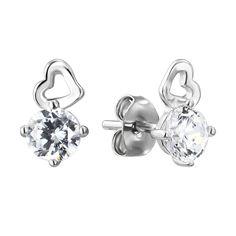 Серебряные серьги-пуссеты с фианитами 000141203 от Zlato