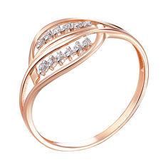 Кольцо из красного золота с цирконием и родированием 000141188 18 размера от Zlato