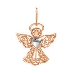 Узорный кулон-ангел в комбинированном цвете золота с сердечком 000129754 от Zlato