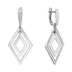Серебряные серьги-подвески с родированием 000135572 000135572 от Zlato
