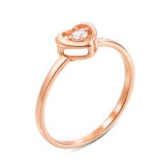 Кольцо из красного золота с фианитом 000134090 16 размера от Zlato