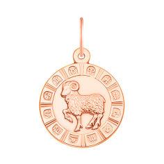Золотой кулон Знак Зодиака Овен в красном цвете 000119539 от Zlato