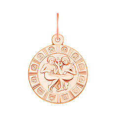 Кулон из красного золота Знак зодиака Близнецы 000134146 от Zlato