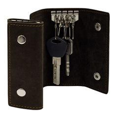 Акция на Ключница из натуральной кожи BermuD 4х10 см на 4 ключа Ko 10-18-05 коричневая от Podushka
