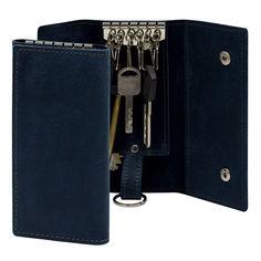 Акция на Ключница из натуральной кожи BermuD 6,5х13,5 см на 6 ключей с кольцом S 10-18-04 синяя от Podushka