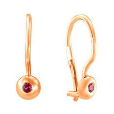 Золотые сережки Лучики с красными фианитами 000036558 от Zlato