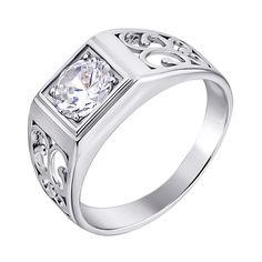 Серебряный перстень-печатка с фианитом 000140544 19 размера от Zlato