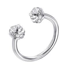 Серебряное разомкнутое кольцо с фианитами 000140604 17 размера от Zlato