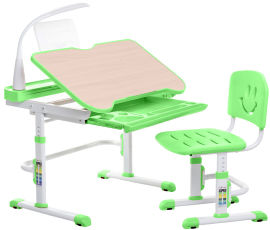 Комплект FunDesk Парта + стул трансформеры с лампой и подставкой для книг Bellissima green от Rozetka