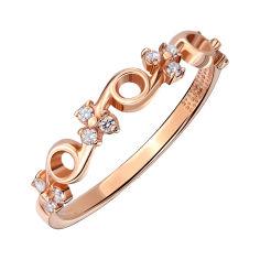 Золотое кольцо в красном цвете с фианитами 000007308 18 размера от Zlato