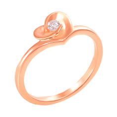 Кольцо из красного золота с бриллиантом 000125508 16 размера от Zlato