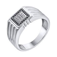 Серебряный перстень-печатка с фианитами 000140546 19 размера от Zlato