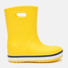 Акция на Резиновые сапоги Crocs Kids Crocband Rain Boot 205827-734-J2 33-34 20.8 см Yellow/Navy (191448404939) от Rozetka