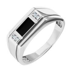 Серебряный перстень-печатка с черной эмалью и белыми фианитами 000093492 19.5 размера от Zlato