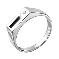 Серебряный перстень-печатка с эмалью и цирконием 000140640 21 размера от Zlato