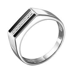 Серебряный перстень-печатка с эмалью и цирконием 000140632 20.5 размера от Zlato
