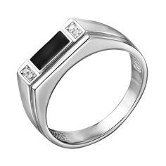 Серебряный перстень-печатка с эмалью и цирконием 000140662 21 размера от Zlato