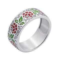 Серебряное кольцо с красной, зеленой и черной эмалью 000133341 17.5 размера от Zlato
