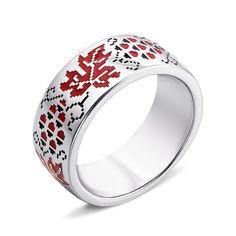Серебряное кольцо с красной и черной эмалью 000133713 17 размера от Zlato