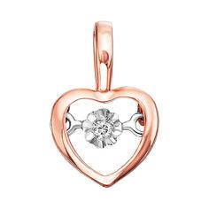Золотой кулон-сердце в комбинированном цвете с подвижным бриллиантом 000138586 от Zlato