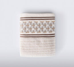 Акция на Махровое полотенце Olwen Jakarli Irya ekru молочное 90х150 см от Podushka