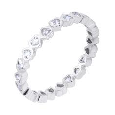 Серебряное кольцо Дорога любви с сердечками по шинке и фианитами 000116365 17 размера от Zlato