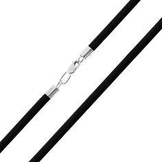 Шнурок из каучука и серебра 000121506 45 размера от Zlato
