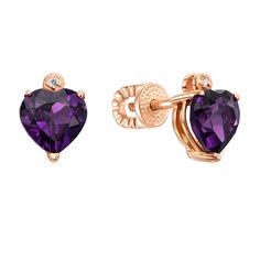 Золотые серьги-пуссеты сердце с аметистом и цирконием 000117206 от Zlato