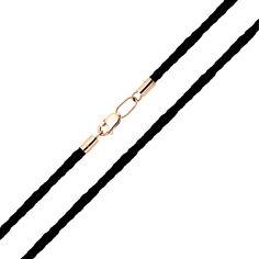 Акция на Черный текстильный шнурок с замком из красного золота 000122268 60 размера от Zlato
