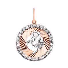 Кулон в комбинированном цвете золота Знак Зодиака Скорпион с фианитами и алмазной гранью 000129708 от Zlato