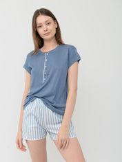 Акция на Пижама (футболка + шорты) Jadea 3085 L Голубая (ROZ6400000255) от Rozetka