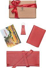 Женский набор кожаный (тревел-кейс, обложка для паспорта, брелок) BlankNote BN-set-travel-12 Красный от Rozetka